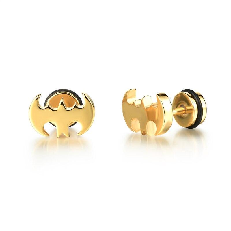 Stainless-Steel-Earrings-For-Women-HOT-titanium-Star-stud-Earring-Punk-black-bat-Ear-Men